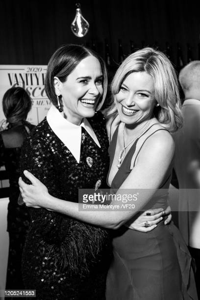 Sarah Paulson and Elizabeth Banks attend the 2020 Vanity Fair Oscar Party hosted by Radhika Jones at Wallis Annenberg Center for the Performing Arts...