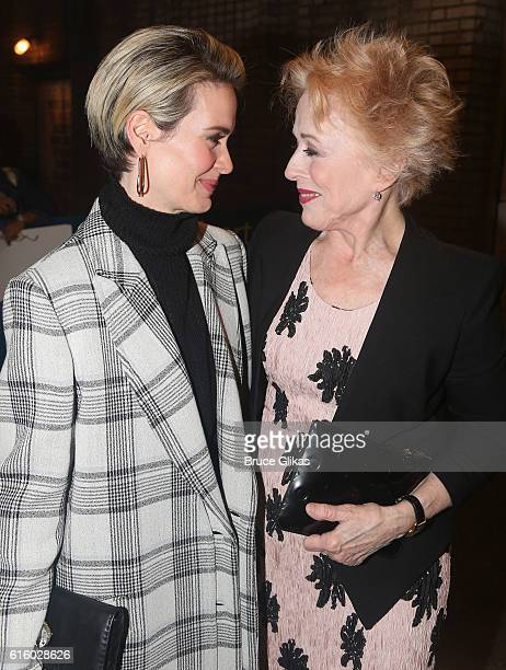 Sarah Paulson and girlfriend Holland Taylor pose at The Opening Night of 'The Front Page' on Broadway at The Broadhurst Theatre on October 20 2016 in...