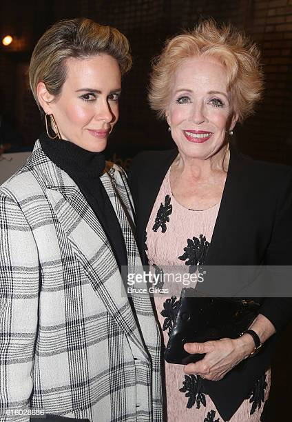 "Sarah Paulson and girlfriend Holland Taylor pose at The Opening Night of ""The Front Page"" on Broadway at The Broadhurst Theatre on October 20, 2016..."