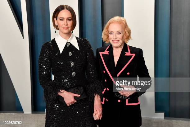 Sarah Paulson and Holland Taylor arrive at the 2020 Vanity Fair Oscar Party hosted by Radhika Jones at Wallis Annenberg Center for the Performing...