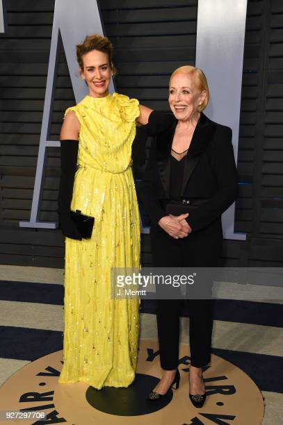Sarah Paulson and Holland Taylor attend the 2018 Vanity Fair Oscar Party hosted by Radhika Jones at the Wallis Annenberg Center for the Performing...