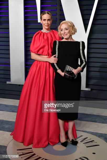 Sarah Paulson and Holland Taylor attend the 2019 Vanity Fair Oscar Party hosted by Radhika Jones at Wallis Annenberg Center for the Performing Arts...