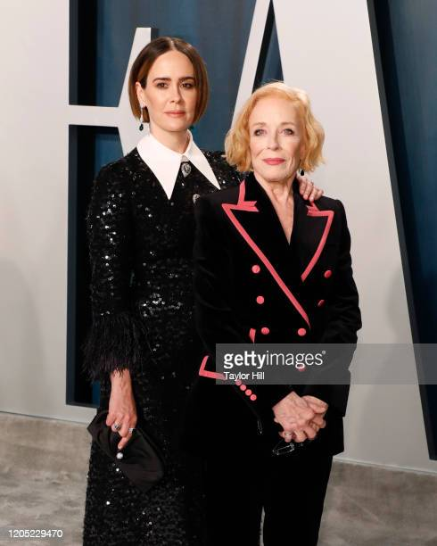 Sarah Paulson and Holland Taylor attend the 2020 Vanity Fair Oscar Party at Wallis Annenberg Center for the Performing Arts on February 9, 2020 in...