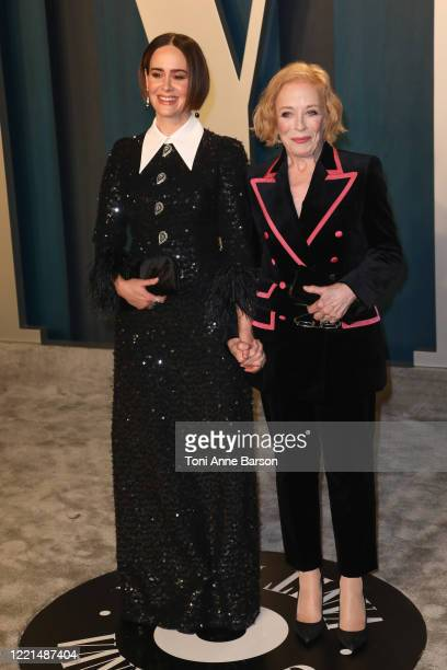 Sarah Paulson and Holland Taylor attend the 2020 Vanity Fair Oscar Party at Wallis Annenberg Center for the Performing Arts on February 09, 2020 in...