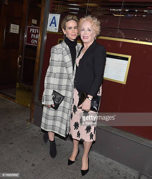 "Sarah Paulson and Holland Taylor attend the ""The Front Page"" Broadway Opening Night after party at Sardi's on October 20, 2016 in New York City."
