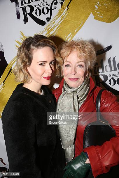 "Sarah Paulson and Holland Taylor pose at the opening night for ""Fiddler On The Roof"" on Broadway at The Broadway Theatre on December 20, 2015 in New..."