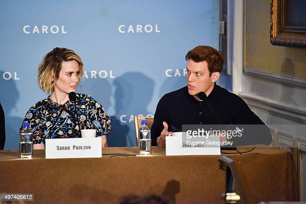 Sarah Paulson and Jake Lacy attend the CAROL New York Press Conference at Essex House Petit Salon on November 16 2015 in New York City