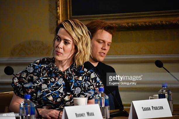 Sarah Paulson and Jake Lacyattend the CAROL New York Press Conference at Essex House Petit Salon on November 16 2015 in New York City