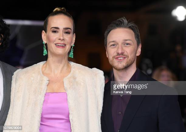 Sarah Paulson and James McAvoy attend the UK Premiere of Glass at The Curzon Mayfair on January 9 2019 in London England
