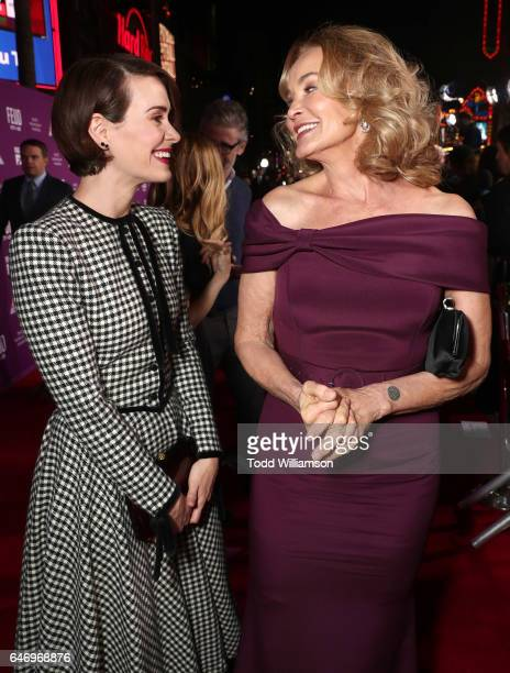 Sarah Paulson and Jessica Lange attend the premiere of FX Network's 'Feud Bette And Joan'at Grauman's Chinese Theatre on March 1 2017 in Hollywood...