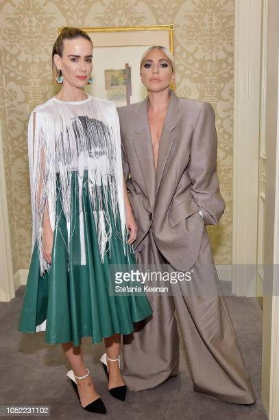 Sarah Paulson and Lady Gaga attend ELLE's 25th Annual Women In Hollywood Celebration presented by L'Oreal Paris Hearts On Fire and CALVIN KLEIN at...