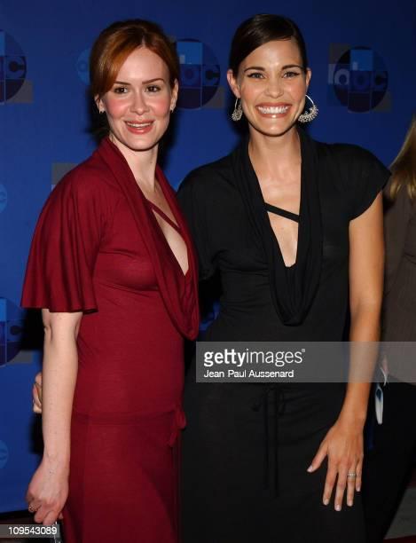 Sarah Paulson and Leslie Bibb wearing the same dress
