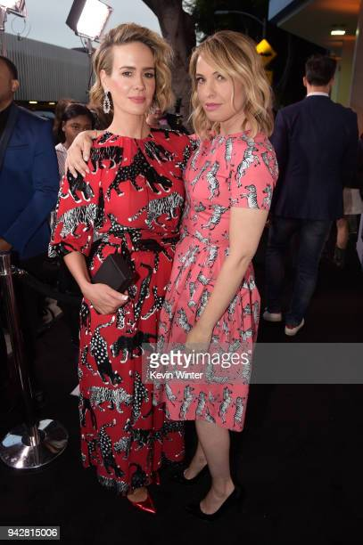Sarah Paulson and Leslie Grossman attend the American Horror Story Cult For Your Consideration Event at The WGA Theater on April 6 2018 in Beverly...