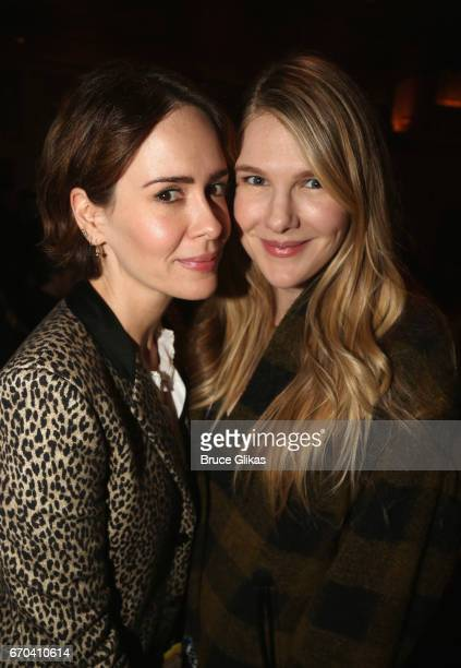 Sarah Paulson and Lily Rabe pose at the opening night arrivals for The Manhattan Theatre Club's production of 'The Little Foxes' on Broadway at The...