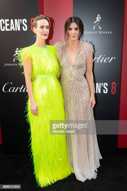 Sarah Paulson and Sandra Bullock attend 'Ocean's 8' World Premiere at Alice Tully Hall on June 5 2018 in New York City