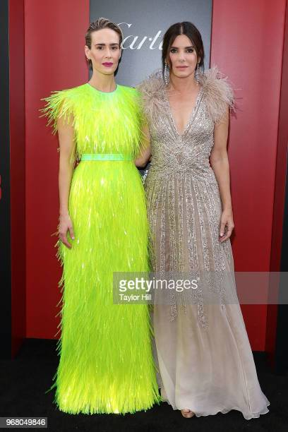 Sarah Paulson and Sandra Bullock attend the world premiere of 'Ocean's 8' at Alice Tully Hall at Lincoln Center on June 5 2018 in New York City