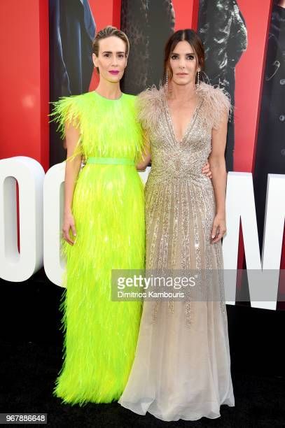 Sarah Paulson and Sandra Bullock attends 'Ocean's 8' World Premiere at Alice Tully Hall on June 5 2018 in New York City