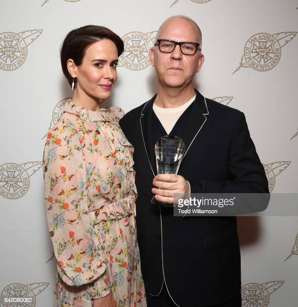 Sarah Paulson and Television Showman of the Year honoree Ryan Murphy attend the 54th Annual International Cinematographers Guild Publicists Awards at...