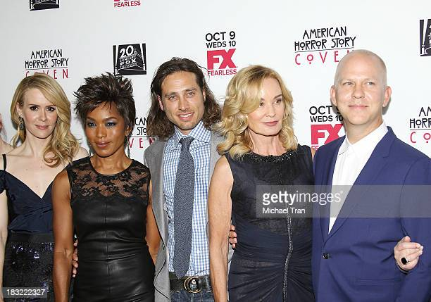 Sarah Paulson Angela Bassett Brad Falchuk Jessica Lange and Ryan Murphy arrive at the premiere of FX's American Horror Story Coven held at Pacific...