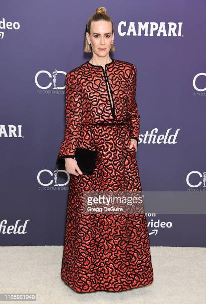Sarah Paulson arrives at the 21st CDGA at The Beverly Hilton Hotel on February 19 2019 in Beverly Hills California