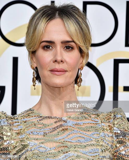 Sarah Paulson arrives at the 74th Annual Golden Globe Awards at The Beverly Hilton Hotel on January 8 2017 in Beverly Hills California