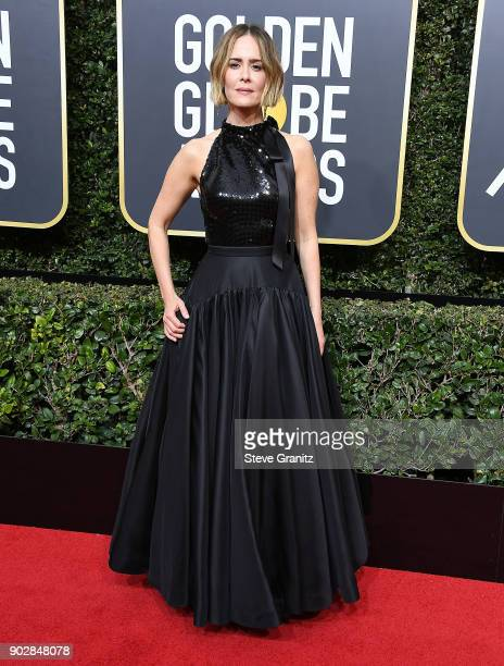 Sarah Paulson arrives at the 75th Annual Golden Globe Awards at The Beverly Hilton Hotel on January 7 2018 in Beverly Hills California