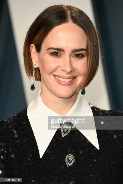 Sarah Paulson attends 2020 Vanity Fair Oscar Party Hosted By Radhika Jones at Wallis Annenberg Center for the Performing Arts on February 09, 2020 in...