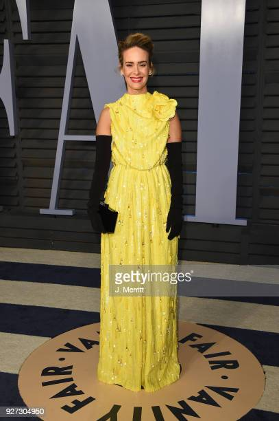 Sarah Paulson attends the 2018 Vanity Fair Oscar Party hosted by Radhika Jones at the Wallis Annenberg Center for the Performing Arts on March 4 2018...