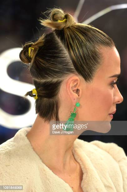 """Sarah Paulson attends the European Premiere of """"Glass"""" at The Curzon Mayfair on January 09, 2019 in London, England."""