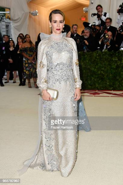 Sarah Paulson attends the Heavenly Bodies Fashion The Catholic Imagination Costume Institute Gala at The Metropolitan Museum of Art on May 7 2018 in...