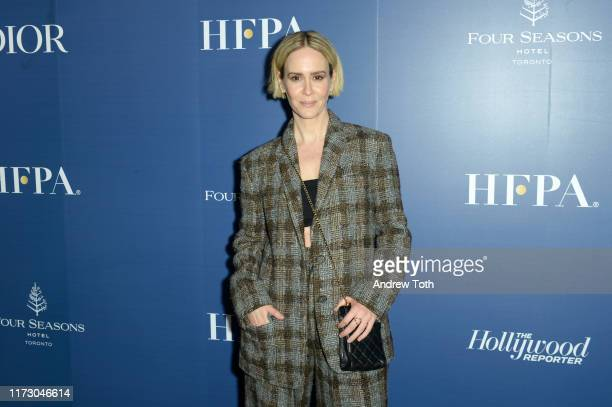 Sarah Paulson attends The Hollywood Foreign Press Association and The Hollywood Reporter party at the 2019 Toronto International Film Festival at...