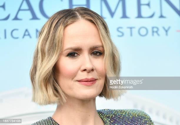 """Sarah Paulson attends the premiere of FX's """"Impeachment: American Crime Story"""" at Pacific Design Center on September 01, 2021 in West Hollywood,..."""