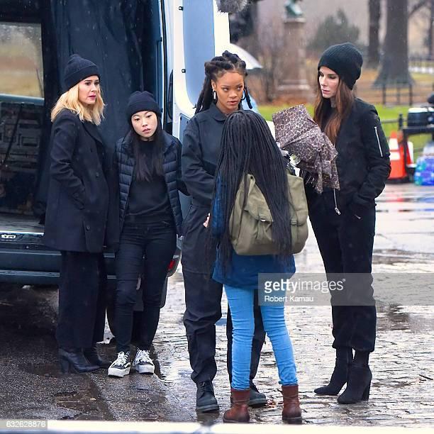 Sarah Paulson Awkwafina Rihanna and Sandra Bullock seen at the Ocean's Eight film set in Central Park on January 24 2017 in New York City