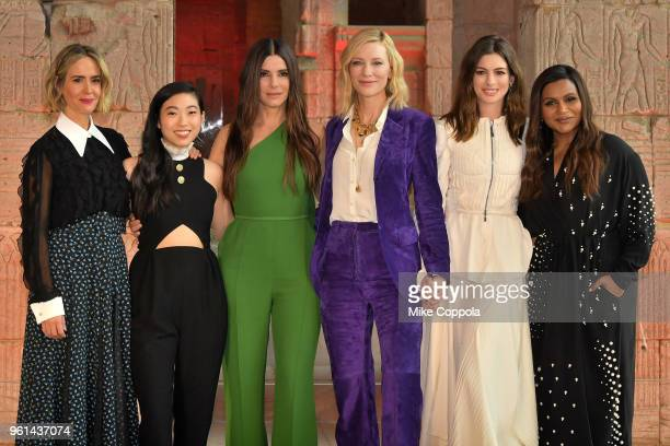 Sarah Paulson Awkwafina Sandra Bullock Cate Blanchett Anne Hathaway and Mindy Kaling attend the 'Ocean's 8' worldwide photo call at The Metropolitan...