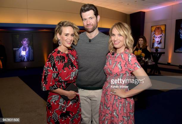 Sarah Paulson Billy Eichner and Leslie Grossman attend the American Horror Story Cult For Your Consideration Event at The WGA Theater on April 6 2018...