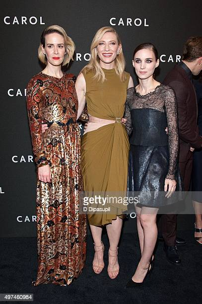 Sarah Paulson Cate Blanchett and Rooney Mara attend the Carol New York premiere at the Museum of Modern Art on November 16 2015 in New York City
