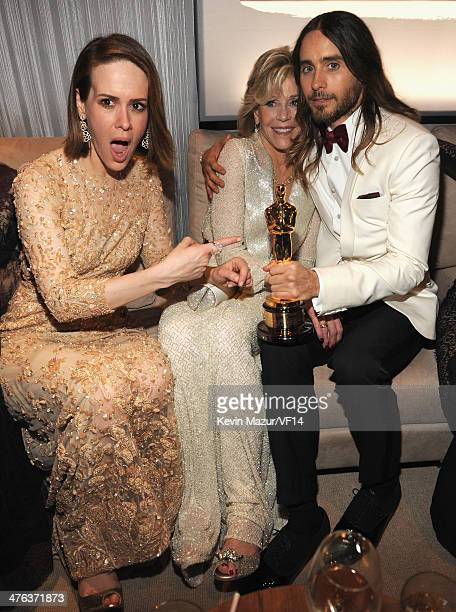 Sarah Paulson Jane Fonda and Jared Leto attend the 2014 Vanity Fair Oscar Party Hosted By Graydon Carter on March 2 2014 in West Hollywood California