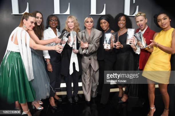 Sarah Paulson Keira Knightley Anita Hill Mia Farrow Lady Gaga Angela Bassett Shonda Rhimes Charlize Theron and Yara Shahidi attend ELLE's 25th Annual...
