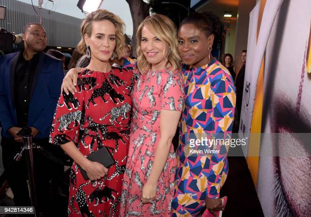 Sarah Paulson Leslie Grossman and Adina Porter attend the American Horror Story Cult For Your Consideration Event at The WGA Theater on April 6 2018...
