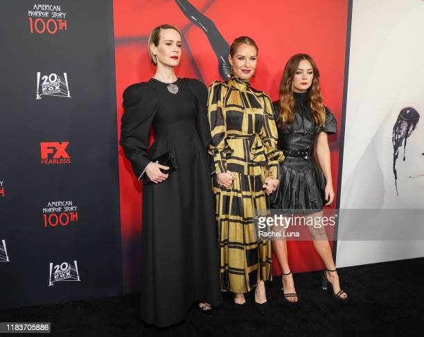Sarah Paulson Leslie Grossman and Billie Lourd attend FX's American Horror Story 100th Episode Celebration at Hollywood Forever on October 26 2019 in...