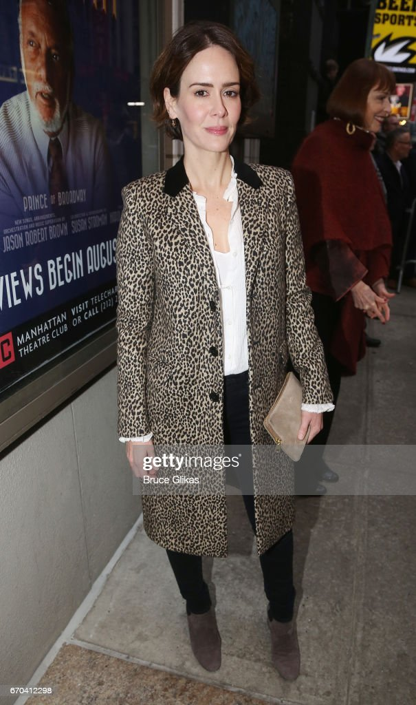 Sarah Paulson poses at the opening night arrivals for The Manhattan Theatre Club's production of 'The Little Foxes' on Broadway at The Samuel J. Friedman Theatre on April 19, 2017 in New York City.