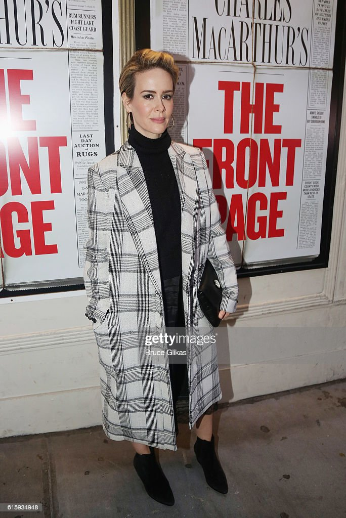 Sarah Paulson poses at the opening night of 'The Front Page' on Broadway at The Broadhurst Theatre on October 20, 2016 in New York City.