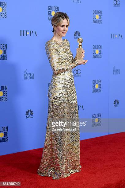 Sarah Paulson poses in the press room during the 74th Annual Golden Globe Awards at The Beverly Hilton Hotel on January 8, 2017 in Beverly Hills,...