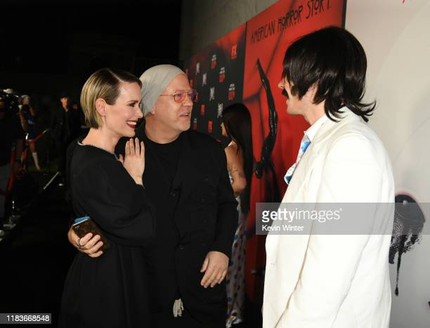 Sarah Paulson Ryan Murphy and Evan Peters attend FX's American Horror Story 100th Episode Celebration at Hollywood Forever on October 26 2019 in...