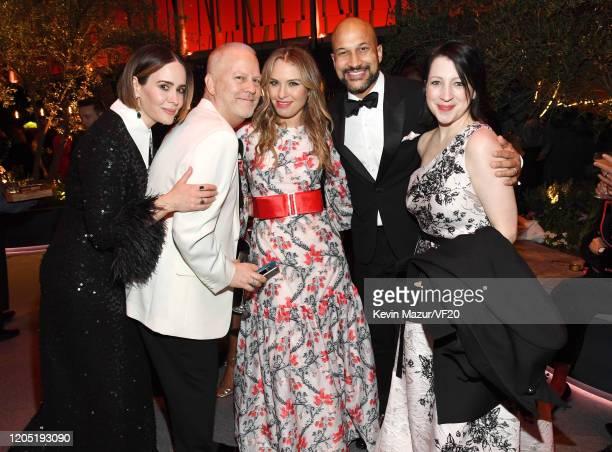 Sarah Paulson, Ryan Murphy, Leslie Grossman, Keegan-Michael Key, and Elisa Key attend the 2020 Vanity Fair Oscar Party hosted by Radhika Jones at...