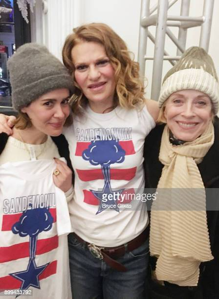 "Sarah Paulson, Sandra Bernhard and Holland Taylor pose backstage at Sandra Bernhard's new show ""Sandemonium"" at Joe's Pub on December 28, 2017 in New..."