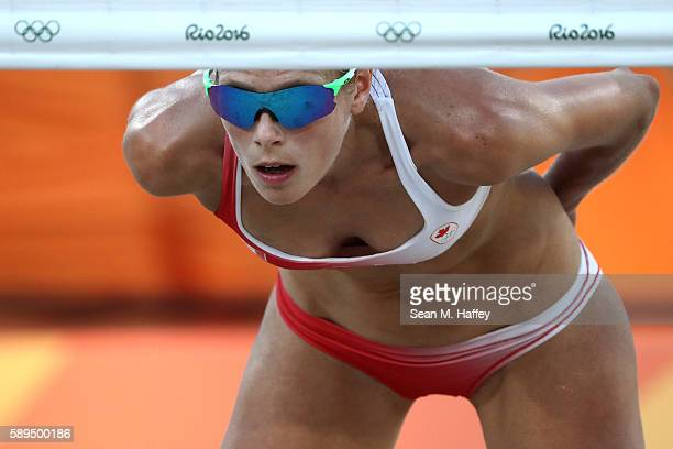 Sarah Pavan of Canada looks on during a Women's Quarterfinal match between Canada and Germany on Day 9 of the Rio 2016 Olympic Games at the Beach...