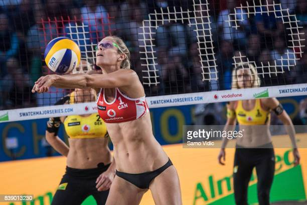 Sarah Pavan of Canada receives the ball during the match against Laura Ludwig and Kira Walkenhorst of Germany during Day 3 of the Swatch Beach...