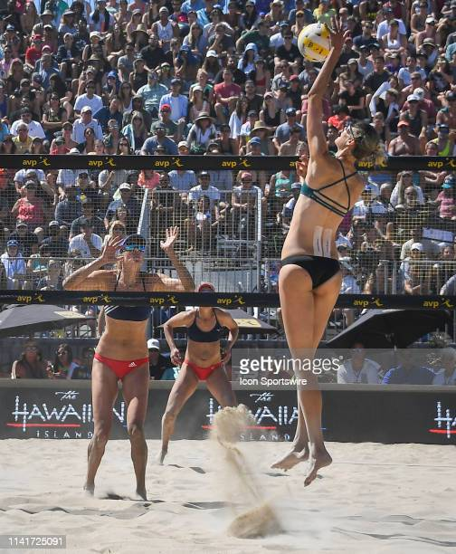 Sarah Pavan spikes the ball during the APV finals. April Ross and Alix Klineman defeated Melissa Humana-Paredes and Sarah Pavan to win the final...
