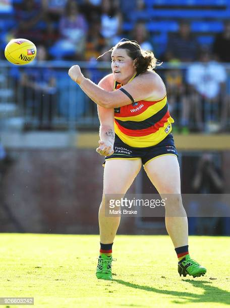 Sarah Perkins of the Adelaide Crows handballs during the round five AFLW match between the Adelaide Crows and the Carlton Blues at Norwood Oval on...